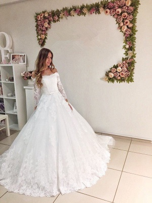 Popular New Arrival Lace Off Shoulder Long Sleeve Ball Gown Elegant Wedding Dresses_1