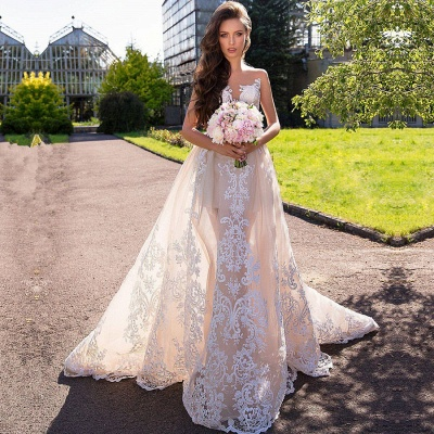 Chic Sleeveless Lace Wedding Dresses | Long Tulle Mermaid Bridal Gowns 2020_2