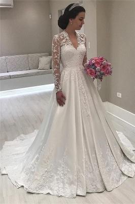 Robes de mariée en dentelle à col en v et à manches longues Vintage | Satin appliques 2020 robe de mariée royale_1