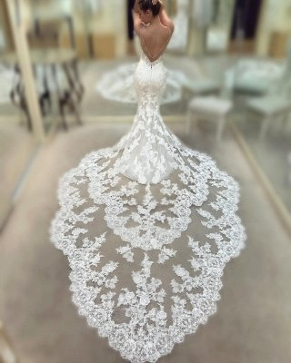 Cathedral Lace Train Backless Wedding Dresses Cheap 2021   V-neck Spaghetti Straps Sheath Bridal Gowns_3