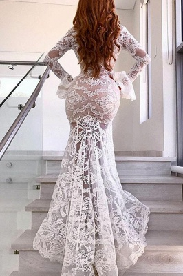 Long Sleeve Sexy Lace Prom Dress Cheap   V-neck Long Formal Evening Dresses With Slit_3