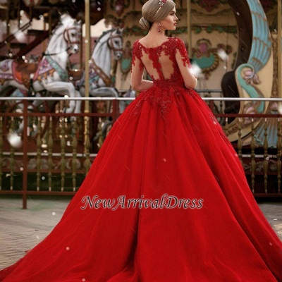 Red New Arrival Lace Appliques Wedding Dresses with Sleeves | Luxury Illusion Sexy  Bridal Gowns Cheap Online_1