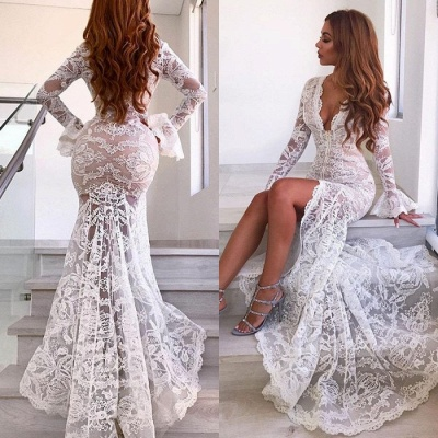 Long Sleeve Sexy Lace Prom Dress Cheap   V-neck Long Formal Evening Dresses With Slit_4