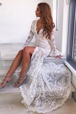 Long Sleeve Sexy Lace Prom Dress Cheap | V-neck Long Formal Evening Dresses With Slit