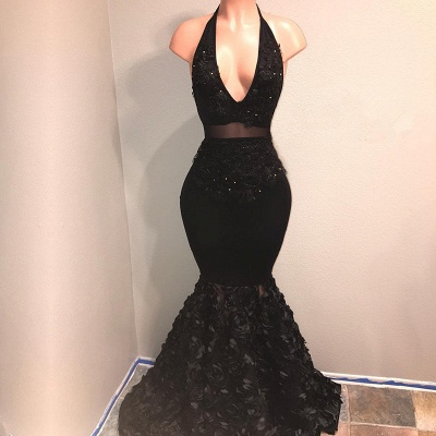 Black V-Neck Prom Dresses Cheap | Mermaid Evening Gown With Flowers Bottom BA9153_3