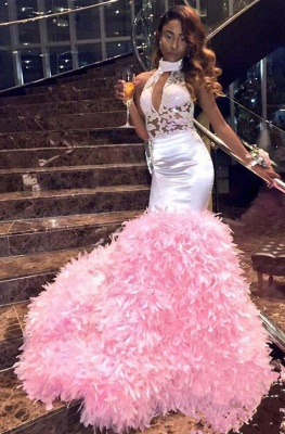 New Arrival Pink High Neck Mermaid Prom Dresses Keyhole Applqiues Formal Dresses SK0129_5