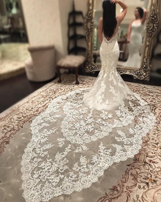 Cathedral Lace Train Backless Wedding Dresses Cheap 2021   V-neck Spaghetti Straps Sheath Bridal Gowns_6