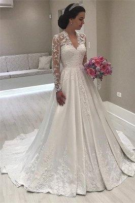 V-Ausschnitt Spitze Langarm Brautkleider Vintage | Satin Appliques 2021 Königliches Hochzeitskleid_1