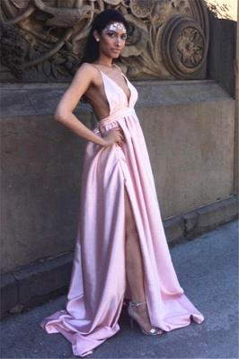 Sexy Backless Simple Formal Dresses V-neck Side Split Prom Dress in Satin BA5405_1