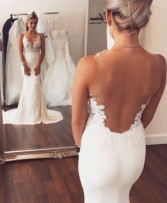 Illusion Back Mermaid Wedding Dresses Cheap Sleeveless Lace summer Beach Wedding Gowns BA3612_1