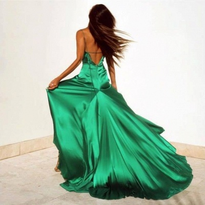 Spaghetti Strap V-Neck Cheap Party Dresses | Latest Side Split Formal Gown AE0105_3