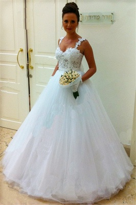 Straps Lace Top Puffy Tulle Wedding Dress Ball Gown Sleeveless Bridal Gowns Cheap_3
