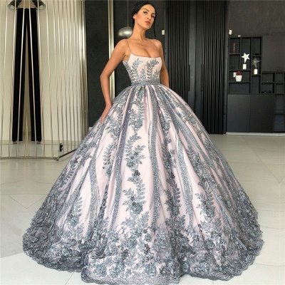 Spaghetti Straps Silver Grey Lace Appliques Formal Dresses | Luxury Princess Ball Gowns Prom Dress  BC0407_3
