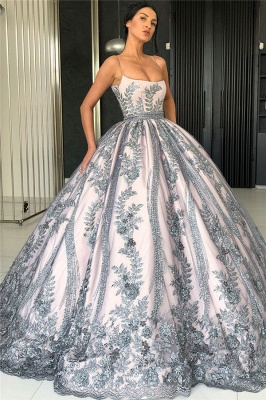 Spaghetti Straps Silver Grey Lace Appliques Formal Dresses | Luxury Princess Ball Gowns Prom Dress  BC0407_1