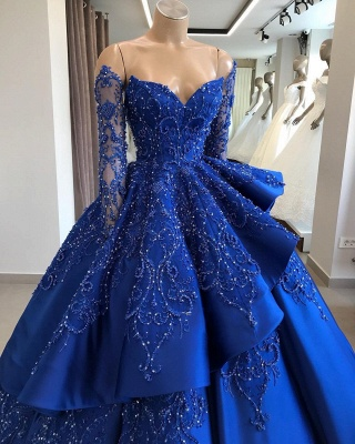 Gorgeous Royal Blue Lace Ruffled Prom Dresses Cheap | Strapless Sweetheart Beads Quinceanera Dresses_1