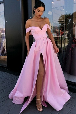 Candy Pink Sexy Side Slit Prom Dresses Cheap | Off The Shoulder Long Formal Evening Gowns_3
