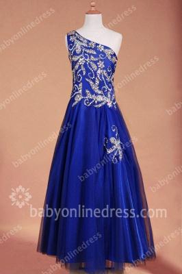 Navy Blue Evening DressesOne Shoulder Sleeveless Sequins Beading Floor Length A Line Zipper Cheap Prom Gowns