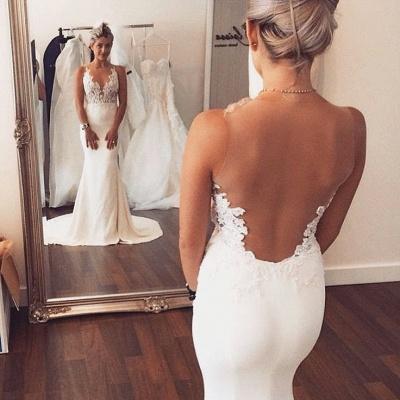 Illusion Back Mermaid Wedding Dresses Cheap Sleeveless Lace summer Beach Wedding Gowns BA3612_3