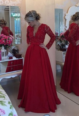 V-Neck Red Long Sleeve Chiffon Prom Dress New Arrival Bowknot Formal Occasion Dress BMT038_1