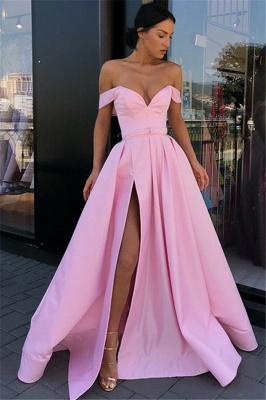 Candy Pink Sexy Side Slit Prom Dresses Cheap   Off The Shoulder Long Formal Evening Gowns_1
