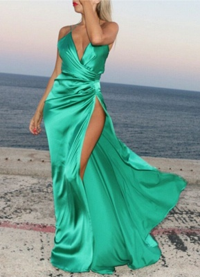 Spaghetti Strap V-Neck Cheap Party Dresses | Latest Side Split Formal Gown AE0105_1