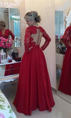 V-Neck Red Long Sleeve Chiffon Prom Dress New Arrival Bowknot Formal Occasion Dress BMT038_4