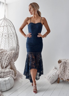 Cute Lace Spaghetti Strap Hi-Lo Homecoming Dress | Mermaid Short Party Gown_1