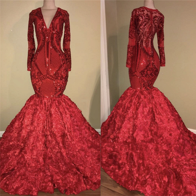 Mermaid Floral Red Long Prom Dresses Cheap | Long Sleeve Luxury Sparkly Evening Dresses_3