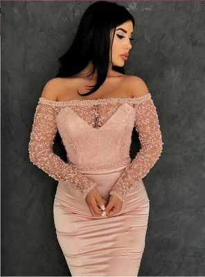 Glamorous Mermaid Off-the-Shoulder Prom Gowns | Long Sleeve Lace Evening Dresses_4