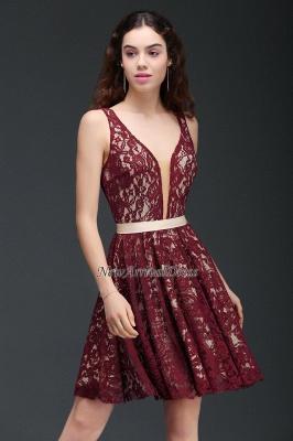 Sleeveless V-Neck Burgundy A-Line Short Lace Homecoming Dresses_5