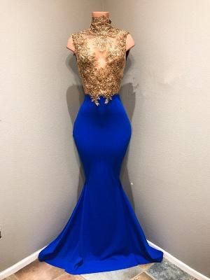 royal blue high neck mermaid lace Appliques Prom Dresses Cheap,Prom Dresses Cheap_1