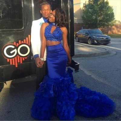 Royal Blue Two Pieces Mermaid Prom DressesHigh Neck Tiered Sleeveless Evening Dresses with Beadings SK0131_4