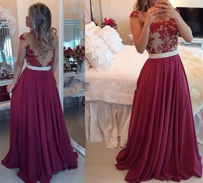 Sheer Lace Black Chiffon Prom Dresses Capped Sleeves Pearls Belt Open Back Modest Formal Long Evening Gowns BT00_2