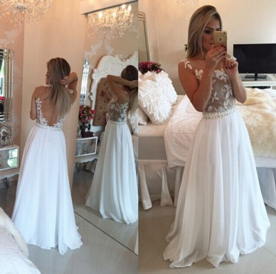 Sheer Lace Black Chiffon Prom Dresses Capped Sleeves Pearls Belt Open Back Modest Formal Long Evening Gowns BT00_1