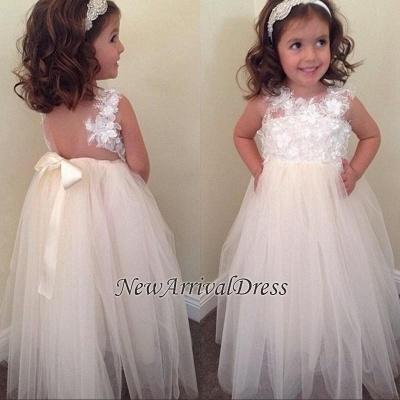 Bowknot Cute A-line Floral-Appliques Floor-Length Flower-Girl-Dresses_1