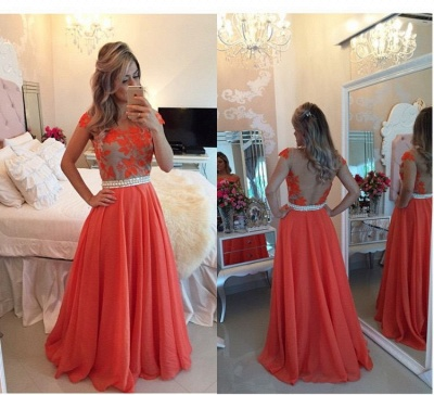 Sheer Lace Black Chiffon Prom Dresses Capped Sleeves Pearls Belt Open Back Modest Formal Long Evening Gowns BT00_3