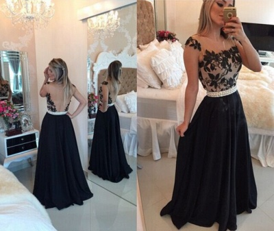 Sheer Lace Black Chiffon Prom Dresses Capped Sleeves Pearls Belt Open Back Modest Formal Long Evening Gowns BT00_6