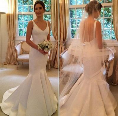 Open Back Elegant V-Neck Sleeveless Mermaid Wedding Dresses Cheap_3