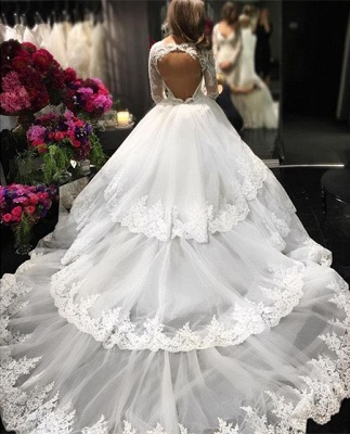 Three-Layers Long Sleeve Cheap Online New Arrival Lace Appliques Delicate Elegant Ball Gown Wedding Dresses_3