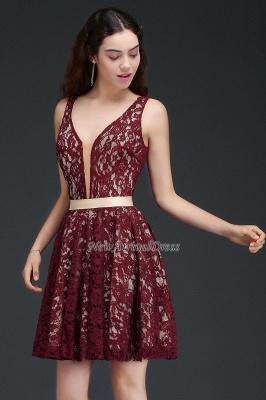 Sleeveless V-Neck Burgundy A-Line Short Lace Homecoming Dresses_4