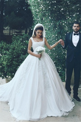 Lace Appliques Sleeveless Straps Cheap Ball Gown Wedding Dresses BA4133_2