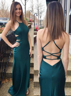 Sexy Dark Green Cross Back Sleeveless Prom Dress | Cheap Prom Dress