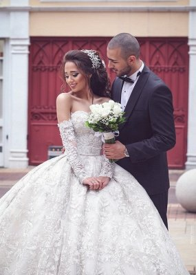Glamorous Sweetheart Lace Wedding Dresses | Bridal Ball Gowns with Sleeves_1