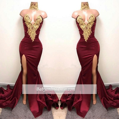 Front-Split High Neck Mermaid Burgundy Lace Appliques Prom Dresses Cheap SP0326_1