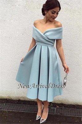 Tea-Length Baby-Blue Satin Off-the-shoulder Elegant New Evening Dresses_1