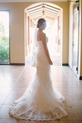 Sexy Lace Wedding Dresses Cheap For Summer Beach Mermaid Strapless Simple Bridal Gowns_3