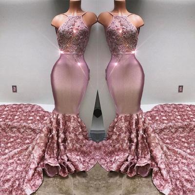 Gorgeous Pink Flowers Mermaid Prom Dresses | Halter Sleeveless Evening Gown BA7797_4