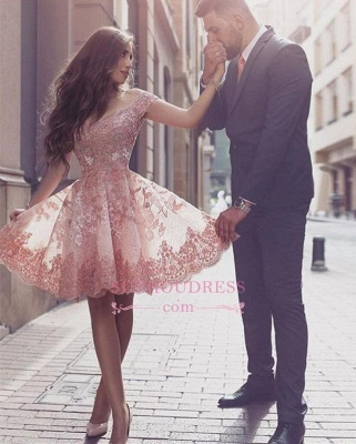 Appliques Mini Tulle A-line Short-Sleeves Glamorous Homecoming Dress_1
