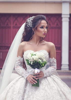 Glamorous Sweetheart Lace Wedding Dresses | Bridal Ball Gowns with Sleeves_3