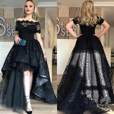 Black Short-Sleeve Lace Hi-Lo Sexy Prom Dress_4